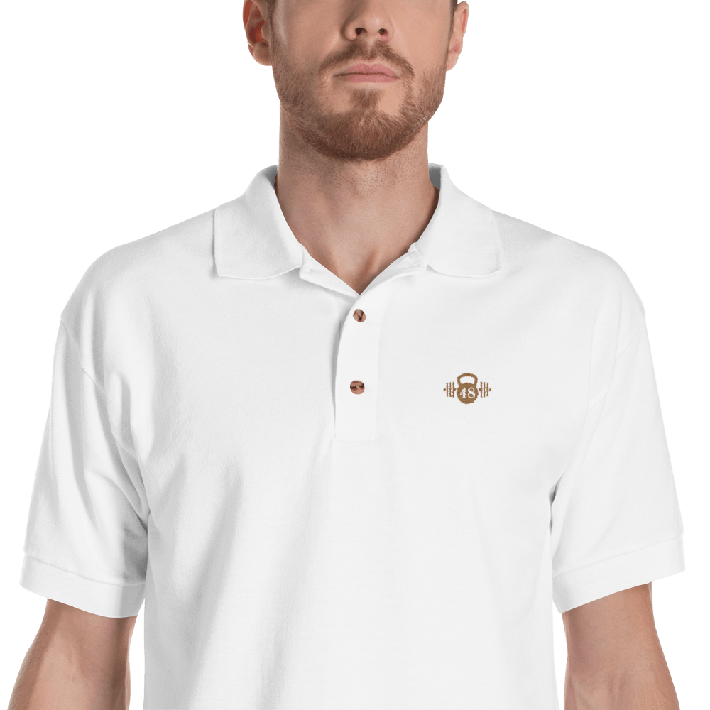 Gold Embroidered Logo on White Polo Shirt